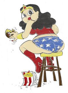 Wonder Woman eating a donut too many....
