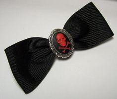 Adorable Antique Silver Black and Red Skull Cross Bones Cameo Gothic Lolita Steampunk Hair Bow Barrette Pin Clip