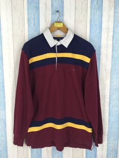 7d5fa809a2866b TOMMY HILFIGER Polo Rugby Shirt Small Vintage 90 s Hilfiger Multicolor  Stripes Casual Polo Shirt Longsleeve Tommy Men Polos Size S