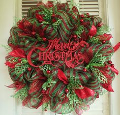 Red and Green Merry Christmas Deco Mesh by MemphisMomWreaths