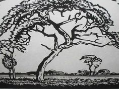 A black and white woodcut by Pierneef Tree Images, Bonsai Art, South African Artists, Tree Art, Printmaking, Landscape Paintings, Art Photography, Wallpaper, Drawings