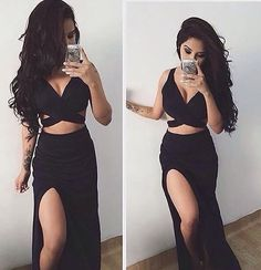 Long Prom Dresses,2 Piece Prom Gown,Two Piece Prom Dresses,Black Evening Gowns,2 Pieces Party Dresses,Formal Dress For Teens