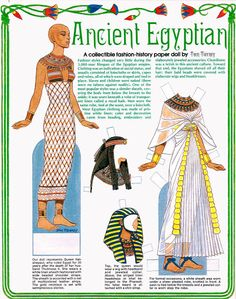 Magazine Paper Dolls by TOM TIERNEY - Ancient Egyptian