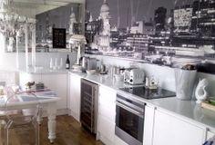 London monochrome #wallpaper #mural #design featured in 25 Beautiful Homes magazine.