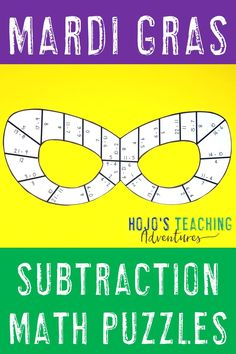 Use these Subtraction Mardi Gras puzzles as a fun math activity with your 1st, 2nd, or 3rd grade primary classroom or home school students. These activities are great for centers, stations, rotations, work stations, review, & more. You get a NO PREP version, so you can print & go. These games are great for your last minute needs. Use them for a Mardi Gras class party. Students will love them! {first, second, third graders - homeschool - no worksheets - quick & easy printables, coloring…
