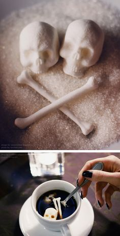 Incredibly Detailed Skull-and-Bones Sugar Cubes. Sugar Skulls, a series of skull-and-bones shaped sugar cubes that make a spooky addition to any hot beverage. Fete Halloween, Halloween Treats, Halloween Drinks, Halloween Cakes, Halloween Decorations, Sugar Cubes, After Life, Skull And Crossbones, Skull And Bones