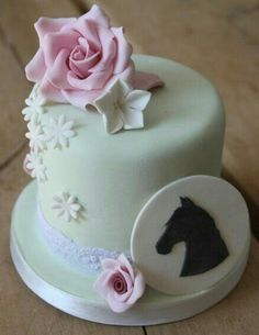 A friend of mine owns a riding stables and I wanted to make her a cake which was pretty but still had the horse element in it. I drew a horse silhouette on paper and traced round it with a scalpel onto SFP. Pretty Cakes, Cute Cakes, Beautiful Cakes, Amazing Cakes, Fondant Cakes, Cupcake Cakes, Horse Cupcake, Cowgirl Cakes, Animal Cakes