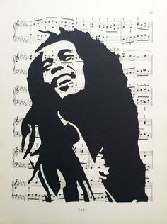 Unique, handmade Bob Marley sheet music stencil