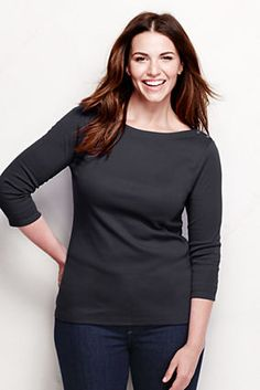 Women's 3/4-sleeve Button Boatneck Top from Lands' End $13 marked down, also white, dark blue