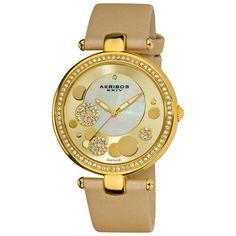 Women'S Akribos Xxiv Ak434Yg Gold-Tone Mop Diamond Dial Leather Strap Watch