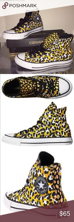 NIB hi top Converse yellow black leopard 7.5 shoes CONVERSE CHUCK TAYLOR ALL STAR ANIMAL PRINT HI SHOE OLD GOLD JET BLACK Lace up Canvas upper Rubber toe cap Metal eyelets Converse makes shoes for those who live creatively optimistically rebelliously Cons exist to provoke inspire and go anywhere on a court the green or concrete in a club a studio Abercrombie Aeropostale Aldo adidas Bebe Brandy Melville forever 21 free people gap guess hollister hm juicy couture Nine West Sephora Steve Madden…