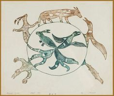Animal Cycle, 1966 - Johnniebo Ashevak Engraving on paper 23.5 x 30.5 cm