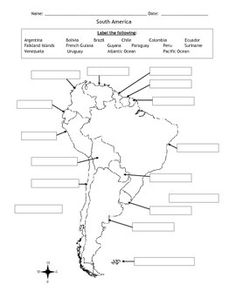 Label and color the political Map of South America. Thank you for shopping at Jodi's Jewels! Teaching Maps, Teaching Geography, Teaching History, History Education, Geography For Kids, Human Geography, World Geography, 6th Grade Social Studies, Teaching Social Studies