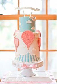 Vintage Hot Air Balloon Wedding Cake