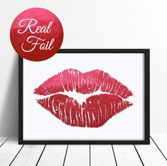 Red Foil Lips Poster Real Foil Foil Print Lips by LovelyPosters