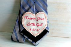 Father of the Bride Gift. Father of the Bride Tie. Gift for Dad. Embroidered Tie Patch. Wedding Embroidery. Wedding. Mens Ties.