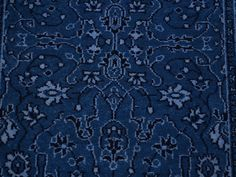 A gorgeous blue hand knotted rug. #DealoftheDay 2' X 3' WOOL AND SILK DENIM BLUE TONE ON TONE KASHAN ORIENTAL RUG