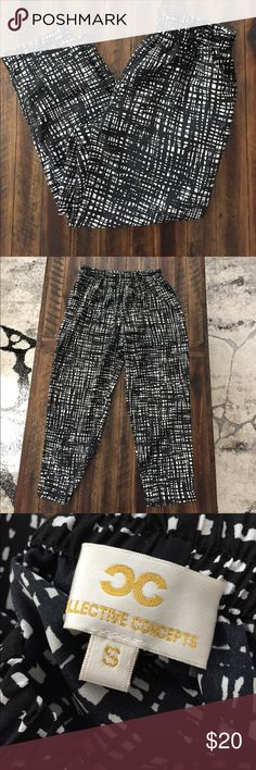 Black & White Flowy Pants Selling these loose & flowy pants from Collective Concepts. Size small. Sold via Stitch Fix. Black and white geometric print. Pockets on the sides. Super cute! Excellent condition. || Thanks for shopping, make sure to check out my other items! I'm more than happy to provide measurements, just ask!! Offers welcome. Items come from a smoke free but pet-loving home 🐾 || Collective Concepts Pants