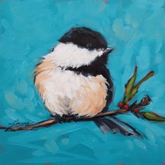 Chickadee Painting 6x6 original oil painting on panel by LaveryART