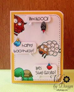 "A ""Happy Birthday!"" Card with Paper Smooches & Lawn Fawn :) - ValByDesign"
