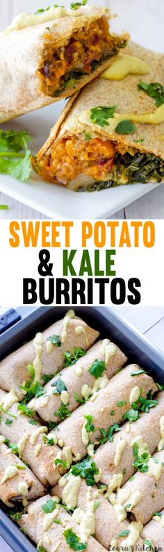 Kale and Sweet Potato Burritos are a healthy, tasty and flavorful meal! Freeze ahead for easy lunches all week long.Make-ahead Kale and Sweet Potato Burritos are a healthy, tasty and flavorful meal! Freeze ahead for easy lunches all week long. Veggie Recipes, Mexican Food Recipes, Whole Food Recipes, Vegetarian Recipes, Cooking Recipes, Healthy Recipes, Delicious Recipes, Potato Recipes, Steak Recipes