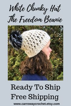 Chunky Crochet Hat, Crochet Hat With Brim, Crochet Beanie, Crochet Hats, White Beanies, Faux Fur Pom Pom, Slouchy Beanie, Outdoor Adventures, Handmade Shop