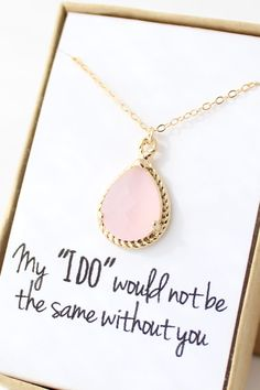 Pink Opal / Gold Bridesmaid Necklace Blush Pink by ForTheMaids