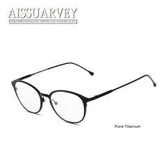 c3f678a1c2 Pure Titanium Glasses Frames Men Women Eyewear Optical Eyeglasses Fashion Brand  Designer Prescription Clear Lenses Round