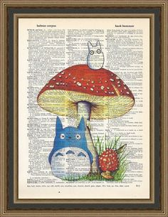 This fun Totoro Print is printed on a vintage dictionary page and would delight any Totoro fan.   ***BUY THREE PRINTS AND GET A FOURTH ONE FREE!