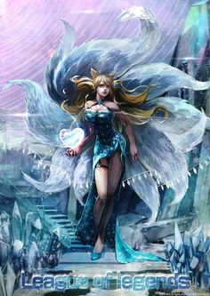 ahri animal_ears bare_shoulders blonde_hair blue_dress breasts cleavage copyright_name dress fox_ears fox_tail full_body heart ice large_breasts league_of_legends lens_flare multiple_tails oreki_genya slippers snowflake_print solo stairs tail watermark Lol League Of Legends, Akali League Of Legends, Ahri League, League Of Legends Characters, League Of Angels, Anime Fantasy, Fantasy Girl, Desenhos League Of Legends, Fille Ecchi