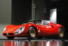 Alfa Romeo, red racing car, side view wallpaper