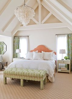 Lofted ceilings in large master bedroom design | Caitlin Moran Interiors
