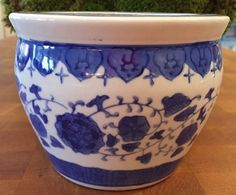 """Beautiful Blue and White Asian Planter Pot. Vintage vine finds. Unmarked. Measures Approx. 5"""" tall with a 6"""" diameter. Add it to your favorites. Be sure to add me to your favorites list !"""
