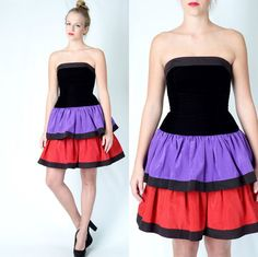 Vintage 80s Color Block Velvet Dress Tiered Party Cocktail Ruffle Full Black S | eBay