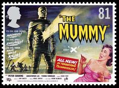 Royal Mail releases The Mummy stamp Hammer Movie, Hammer Horror Films, Hammer Films, Horror Movie Posters, Cinema Posters, Movie Poster Art, The Mummy Film, Mummy Movie, Movie Taglines