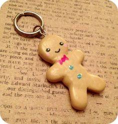 Mr. Gingerbread Man - Cute Holiday Keychain by berrysweettreats on Etsy