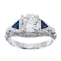 qvc Tacori IV Diamonique Epiphany Bloom Cut Lab Created Sapphire Ring Sz 7 B160 #TacoriIV #SolitairewithAccents