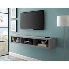 Orren Ellis Maughan Floating TV Stand for TVs up to 65 inches Color: Stone Gray Shelves Under Tv, Tv Wall Shelves, Floating Shelf Under Tv, Floating Tv Console, Floating Tv Stand, Console Table, Floating Media Console, Wall Tv, Bedroom Tv Wall