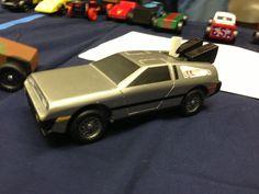 My son's DeLorean pinewood derby car