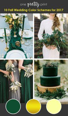 Fall Wedding Colors - Emerald Gold Light Yellow