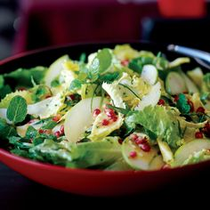 Escarole and Fresh Herb Salad with Apples and Pomegranates | Food & Wine |