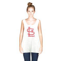 St. Louis Cardinals Majestic Threads Women's Cap Logo Tri-Blend Racerback Tank Top - Ash - $31.99