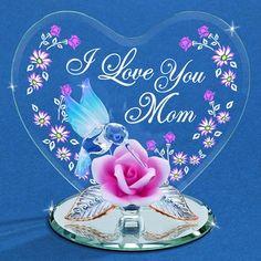 "Glass Baron ""I Love You Mom"" Hummingbird Figurine #mom #mothersday #glassbaron #rose #hummingbird"