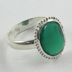 Green Onyx Stone Attractive Design 925 Sterling Silver Ring by JaipurSilverIndia on Etsy