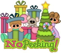 NO PEEKING, Made to Order, premade paper piecing, scrapbook page, album, border, Christmas, presents, morning, kids, mouse, boy, girl on Etsy, $12.99