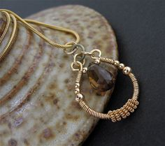 Brown Stone, Wire Wrapped Necklace, 14k Goldfilled Chain via Etsy