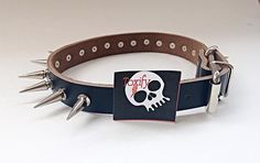 Large Spiked Genuine Leather Dog Collar - Black with XL Silver Spikes by ToxifyDesigns on Etsy