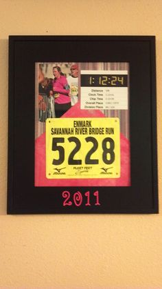 Individual race bib frame:  bib, medal, map, results and/or pic. Great way to show off your accomplishments.