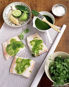 Cilantro-Ginger Halibut. One of my favorite all-time recipes. Any good white fish will substitute for the halibut. Pair with the sesame udon noodles.