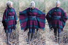 Diy Cozy Blankets, Blanket Coat, All Year Round, Plaid Scarf, Diy Clothes, Shawl, Wraps, Sewing, Up Styles